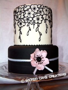 Pink and Black and White hand painted wedding cake - This could take on a goth look easily, just add different pattern and flower