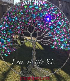 Extra large tree of life with glass beats Tree of life suncatcher 25 cm/ inch Beaded Crafts, Wire Crafts, Fun Crafts, Diy And Crafts, Tree Of Life Art, Tree Of Life Jewelry, Tree Of Life Pendant, Dream Catcher Craft, Wire Tree Sculpture