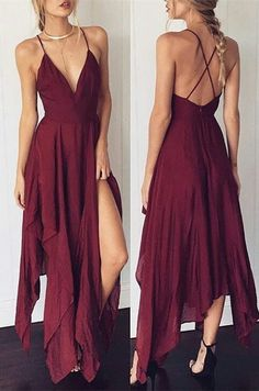 2018 burgundy chiffon long prom dress, straps v neck long prom dress with slit, formal evening dress