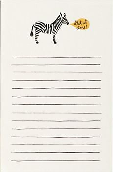 Rifle Zebra Notepad - The zebra is holding you accountable to your to do list. $8.95