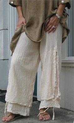 OH MY GAUZE Cotton Lagenlook PORTO 2-Layer Pants Pant  OSFM  M/L/XL/1X  BONE