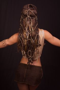 Tribal Braided Feather Headdress by lotuscircle on Etsy headdress head piece wig braids head wear festival wear burning man tribal feathers art head art design lotuscircle hand made gypsy wearable art