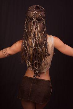 Tribal Braided Feather Headdress by lotuscircle on Etsy headdress head piece wig braids head wear festival wear burning man tribal feathers art head art design lotuscircle hand made gypsy wearable art