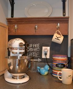 Cute kitchen coffee nook via Dogs Don't Eat Pizza. www.rangehoodsinc.com