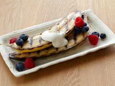 Grilled Bananas with Maple Creme Fraiche by Chef Bobby Flay  #bobbyflay #bananas