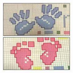 Per fiocco nascita Crochet Chart, Crochet Baby, Crochet Patterns, Cross Stitch Designs, Cross Stitch Patterns, Baby Motiv, Graph Design, Cross Stitch Baby, Baby Feet