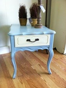 Annie Sloan chalk paint on table, pots and candlestick. So many uses!  via www.jennieleighdesign.com