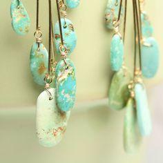 Ajax Mine Turquoise Petal Chandelier Earrings by fussjewelry, $224.00