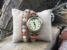 Montre bracelets pour femme boho cadran bronze pierres Wood Watch, Bronze, Watches, Bracelets, Accessories, Etsy, Fashion, Natural Leather, Handcrafted Jewelry