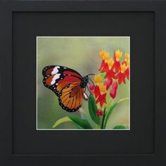 Susho, King Silk Art Handmade Silk Embroidery - Monarch Butterfly on Fuchsias - Medium Size 33024BF - List price: $119.99 Price: $37.98