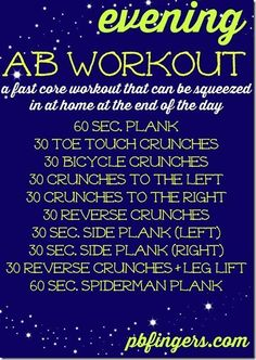 Evening Ab Workout - A fast workout that can be squeezed in at the end of the day! Evening Ab Workout - A fast workout that can be squeezed in at the end of the day! Abdo Workout, Workout Bauch, Sport Fitness, Fitness Tips, Health Fitness, Fitness Workouts, Core Workouts, Workout Abs, Hard Core Ab Workout