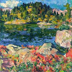 Giovanni Giacometti (Swiss, 1868-1933)  - At Lake Cavloccio