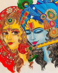 Radha Krishna Sketch, Radha Radha, Radha Krishna Photo, Krishna Art, Lord Shiva Painting, Krishna Painting, Madhubani Painting, Lord Krishna Images, Radha Krishna Pictures