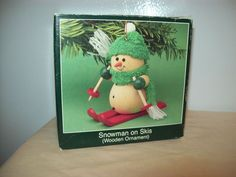 American greetings christmas ornament military mail operation santa vintage american greetings snowman on skies wooden ornament 1987 m4hsunfo
