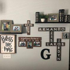 Scrabble Wall Art, Scrabble Board, Scrabble Letters, Scrabble Tiles, Weekly Menu Boards, Diy Wood Signs, Family Wall, Wall Tiles, Farmhouse Decor