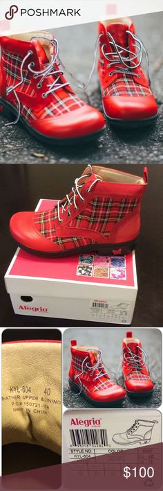 Algeria Kylie Candy Apple Boots 🍎 Sold out! Classic...Quality Boot!!! Lumberjack style but definitely gives you femininity. Lace up boot with a five eyelet front opening with a heel loop for an easy slide on. Red plaid print with red nappa leather toe. Promotes perfect posture that reduces stress on muscles & joints. New with box. Alegria Shoes