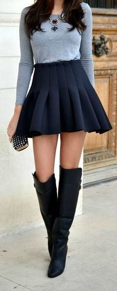 Skater Skirt + Over The Knee Boots