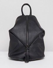ASOS Front Zip Backpack With Dog Clip And Tassel