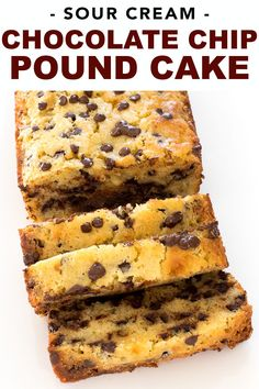 This Sour Cream Chocolate Chip Pound Cake is super moist, buttery and tender with the perfect amount Chocolate Chip Pound Cake, Chocolate Chip Muffins, Chocolate Chips, Chocolate Chip Cake Recipe Easy, Chocolate Cream, Dessert Simple, Dessert Ideas, Health Desserts, Easy Desserts