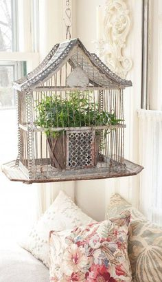 ornate bird cage   Bird cage planter... this is sweet!
