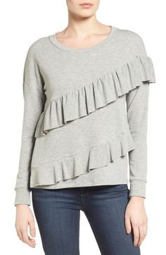 Pleione French Terry Ruffle Sweatshirt (Regular & Petite) available at #Nordstrom