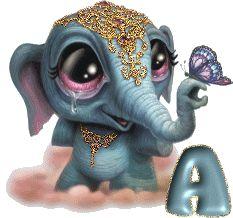 Alfabeto pequeño elefante hindú.