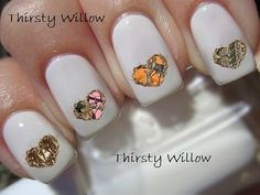 Deer Antler Heart Nail Decals by ThirstyWillow on Etsy Ongles Mickey Mouse, Minnie Mouse, Mouse Ears, Holiday Nails, Christmas Nails, Cute Nails, Pretty Nails, Olaf Nails, Nail Art Disney
