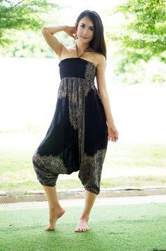 51c67c658b011d Plus Größe Haremshose schwarz Thai Hose Rayon Hose Boho
