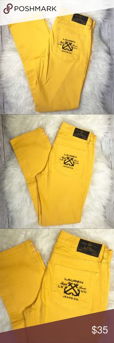 NWOT Lauren Ralph Lauren Yellow Jeans size 8 Lauren Ralph Lauren Yellow Jeans Size 8 98% cotton 2 % elastane Waist: 32  Front Rise: 9 inches  Inseam: 30 inches Length: 40 inches New without tags! Lauren Ralph Lauren Jeans Straight Leg