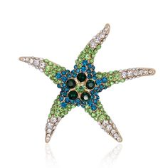 Lifelike Crystal Rhinestone Starfish Brooch Pin Animal Women Fashion Jewelry Hat Accessory Gift 2016