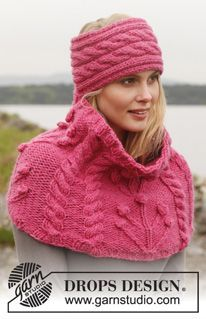 "Knitted DROPS head band and neck warmer with cables and textured pattern in ""Andes"". ~ DROPS Design free pattern"