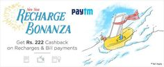 New Year Recharge Bonanza! Rs.222 Cashback On Recharges and Bill Payments Hurry @ http://goosedeals.com/home/details/paytm/115568.html