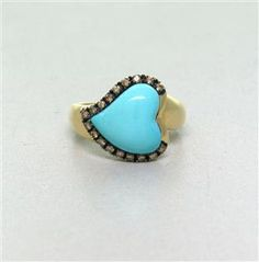 Le Vian 14k Gold Diamond Turquoise Heart Ring. Available @ hamptonauction.com for the March 16, 2014 auction!