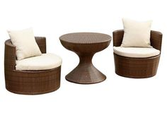 Emerie 3 Piece Outdoor Chair and Table Set -- This modern and sculptural PE wicker chair-and-table set is perfect for relaxing poolside