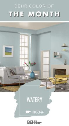 When it comes to stylish wall colors, Behr Paint in Watery is sure to be a good fit for your home. That's why it is the Behr Color of the Month for . Behr Paint Colors, Bedroom Paint Colors, Paint Colors For Living Room, Paint Colors For Home, House Colors, Watery Paint Color, Playroom Paint Colors, Paint Walls, Blue Living Room Walls