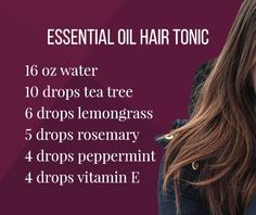 Essential Oil Hair Tonic - Lindsey Elmore - Getting new, chemical free hair care with essential oils is easy! This is a product that I have been using for five years, and absolutely love it. Get the recipe. Dr. Oz, Hair Care Oil, Diy Hair Care, Natural Hair Conditioner, Hair Tonic, Hair Protein, Essential Oils For Hair, Hair Rinse, Natural Hair Growth