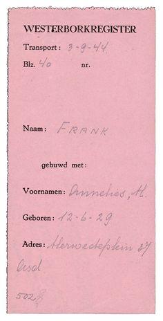 registratie van Anna Frank in het register van kamp westerbork
