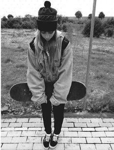 Winter skater girl outfit.