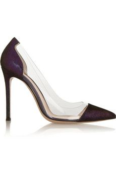 Gianvito Rossi Metallic suede and PVC pumps | NET-A-PORTER