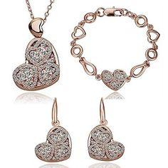 HSG herzfoermigen Kristall Schmucksets Halskette, Armband, Ohrringe - http://schmuckhaus.online/hsg/golden-weiss-hsg-herzfoermigen-kristall-armband