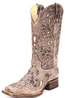 Corral Ladies Boots Distressed Brown with Bone Inlays ~ GORGEOUS!!