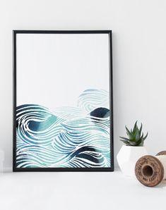 Waves watercolor, sea pattern art print, watercolor zen wall art , nautical poster, nursery art decor, home wall art, modern art poster, blue