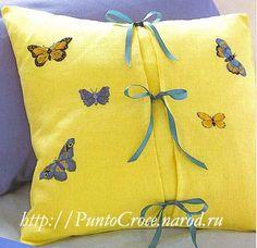 Подушка с бабочками вышивка. Обсуждение на LiveInternet - Российский Сервис Онлайн-Дневников