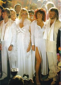 ABBA from their super trooper record. Love the picture but the clown just behind them scares me...