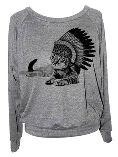 Womens cat sweatshirt  INDIAN CHIEF   american by skipnwhistle, $29.00