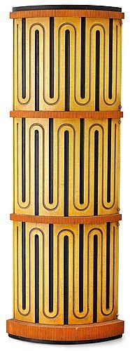 An Axel-Einar Hjorth painted and sculptured cabinet 'Mora' by Nordiska Kompaniet, Sweden ca 1930.