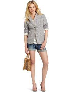 Maison Scotch Women's Unlined Summer Blazer Jacket « Clothing Adds Anytime Seersucker Jacket, Scottish Women, Summer Blazer, Summer Outfits, My Style, Womens Fashion, Casual, Jackets, Net Bag