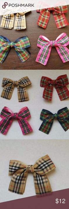 "4-pack Plaid Tartan Hair Bows Clips Bowties Up for grabs: Bundle of 4 adorable plaid bows. Made of Polyester. Mounted on a clip that can be used as a hair ornament or as a bowtie. Each pack contains all four plaid styles. Sorry, at this time I can't sell them individually. Each clip is 2"" wide. Bows are 3.5"" wide and 2.5"" long. Price firm. No offers on this one. Contact me if you have any questions. T&J Designs Accessories Hair Accessories"