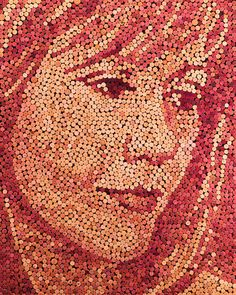 Portrait made of 3621 recycled wine corks