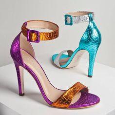 62ee6e215 Cecconello metallic mint violet python ankle stripe high heel summer sandals